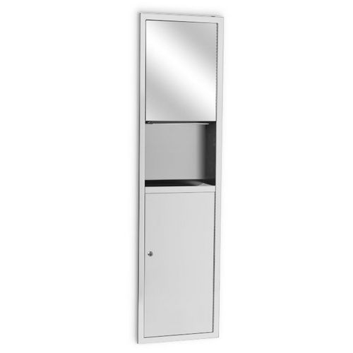 AJW U6018B-S2 Folded Towel Dispenser & Waste Receptacle Combination with #8B Mirror Finish, Semi-Recessed