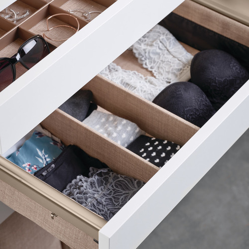 Hafele 807.78.111 Divided Lingerie Drawer, ENGAGE Slate with slate fabric, 18