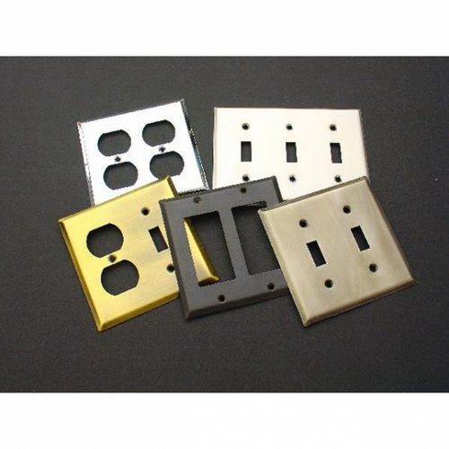IDH 28018-003 Square Double Switch Plate, Polished Brass