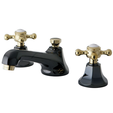 Kingston brass ns4469bx water onyx widespread lavatory faucet with brass pop up drain black for Black nickel bathroom faucets