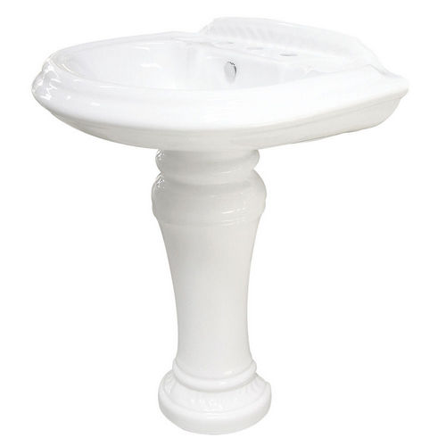 Kingston Brass VPB3298 Naples White China Wall Mount Pedestal Bathroom Sink with 8