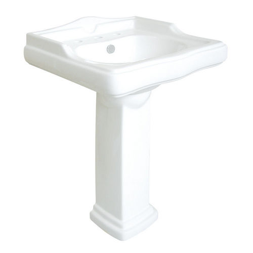 Kingston Brass VPB4258 English Country White China Wall Mount Pedestal Bathroom Sink with 8