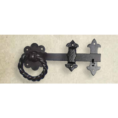 Snug Cottage 4017-8SP Black Powder over Galvanized Warwickshire Ring Latch